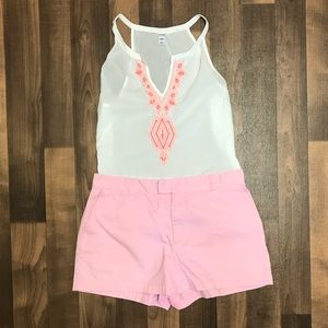 Old Navy   White Neon Embroidered Tank
